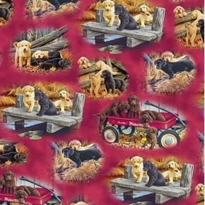 Picture of Labrador-able Labrador Vignettes Puppy Dog Cranberry Cotton Fabric