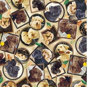 Picture of Labrador-able Labrador Portraits Puppy Dog Cream Cotton Fabric