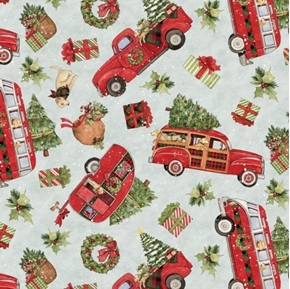 Picture of Red Truck Toss Holiday Camper Woody Car Christmas Trees Cotton Fabric
