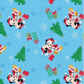 Picture of Disney Mickey and Minnie Christmas Love Holiday Blue Cotton Fabric
