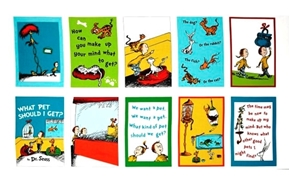 What Pet Should I Get? Dr Seuss Storybook 24x44 Cotton Fabric Panel