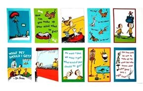 What Pet Should I Get? Dr Seuss Storybook 24x44 Cotton Fabric Panel