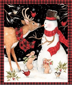 Picture of Winter Snowman with Reindeer Christmas Large Cotton Fabric Panel
