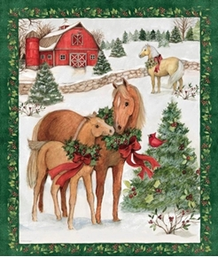 Picture of Holiday Horses and Barn in Snow Christmas Large Cotton Fabric Panel