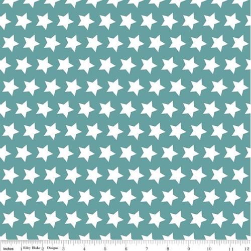 Picture Of Star Pattern White Stars On Teal Cotton Fabric