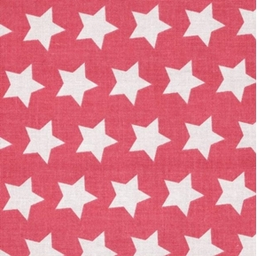 Picture of Star Pattern White Stars on Hot Pink Cotton Fabric