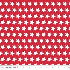 Star Pattern White Stars on Red Patriotic Cotton Fabric