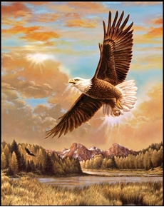 Picture of Majestic Outdoors Eagle Soaring Over Mountains Cotton Fabric Panel