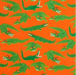 Picture of Reef Madness Green Alligators Florida Gators on Orange Cotton Fabric