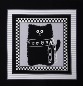 Smudgy Cat Black Cat with Hearts Gray 24x22 Cotton Fabric Pillow Panel