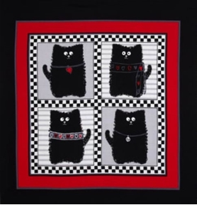Picture of Smudgy Cat 4 Black Cats Red Gray 24x22 Cotton Fabric Pillow Panel