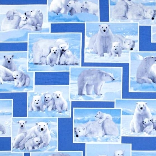 Picture of On the Wild Side Polar Bear Mother and Cubs Photos Cotton Fabric