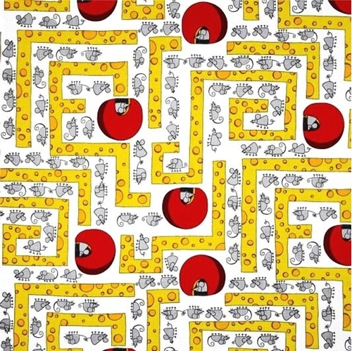 Mouse in the House Mice in a Cheese Maze Cotton Fabric