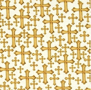 Bible Study Gold Metallic Crosses Devine Cross on White Cotton Fabric