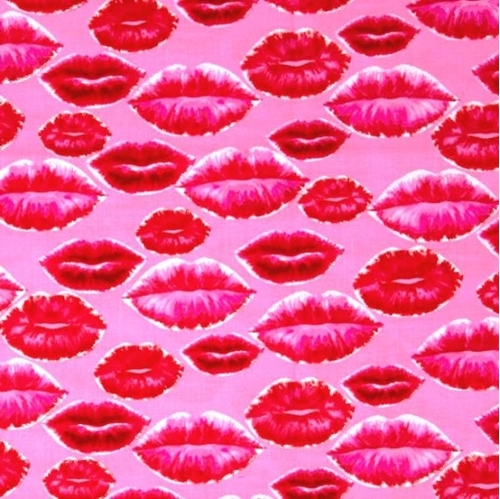 Picture of Love in All Around Hot Pink Glitter Lips Kisses Sexy Cotton Fabric