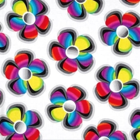 Bright Idea Flower Pop Mod Rainbow Flowers on White Cotton Fabric