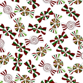 Picture of Holiday Cheer Christmas Candy Peppermints on White Cotton Fabric
