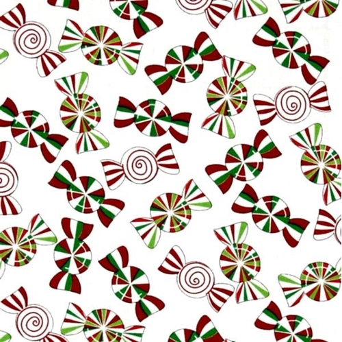 Holiday Cheer Christmas Candy Peppermints on White Cotton Fabric