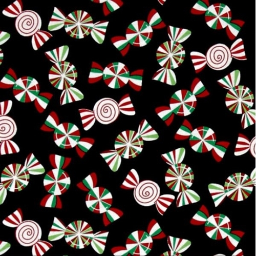 Picture of Holiday Cheer Christmas Candy Peppermints on Black Cotton Fabric