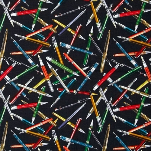 Picture of Law Library The Mighty Pen Fountain Pens on Black Cotton Fabric