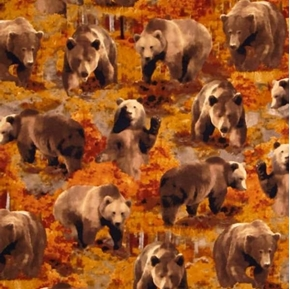 The Great North Wilderness Brown Bear Bears in Autumn Cotton Fabric