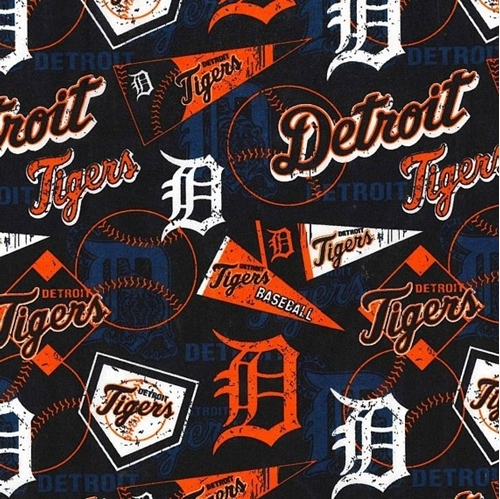 Picture of MLB Baseball Detroit Tigers Distressed Look 2018 18x29 Cotton Fabric