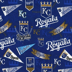 MLB Baseball Kansas City Royals Distress Look 2018 18x29 Cotton Fabric