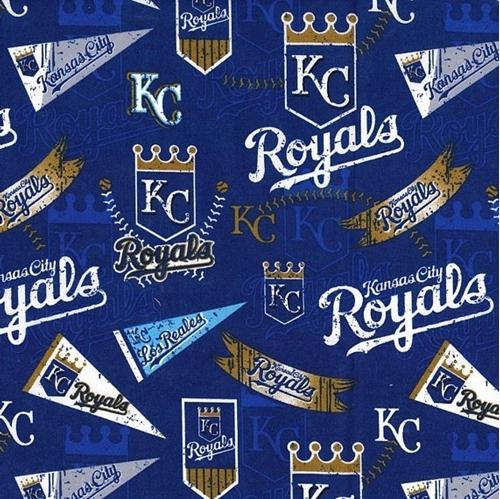 MLB Baseball Kansas City Royals Distress Look 2018 18x29 Cotton Fabric