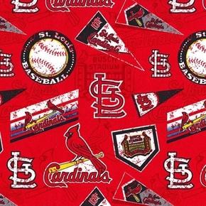 MLB Baseball St Louis Cardinals Distress Look 2018 18x29 Cotton Fabric