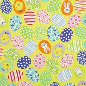 Funny Bunnies Decorated Yellow Easter Eggs Cotton Fabric