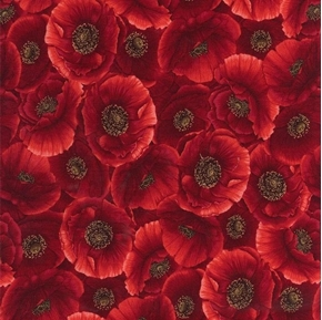 Picture of Packed Poppies Red Poppy Flower Flowers Cotton Fabric