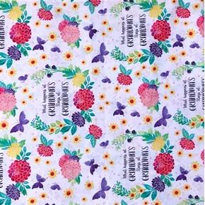 Picture of What Happens at Grandmas Stays at Grandmas Grandma Cotton Fabric