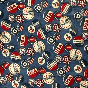 Picture of Democrat Buttons Politics Political Campaign Blue Cotton Fabric