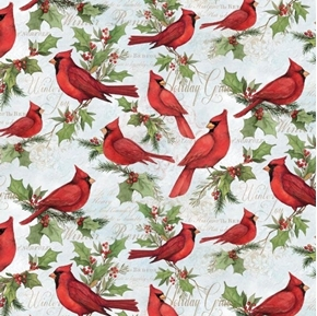 christmas cardinals holiday cardinal and holly cotton fabric