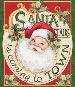 Picture of Retro Santa Claus is Coming to Town Large Cotton Fabric Panel