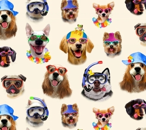 Beach Selfies Dogs in Sunglasses and Snorkle Gear Cream Cotton Fabric