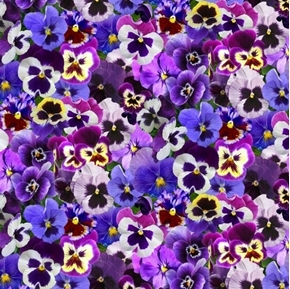 Lovely Pansies Pansy Flowers in Shades of Purple Cotton Fabric