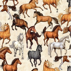 Mustang Sunset Horses Mustangs Horse Cream Cotton Fabric