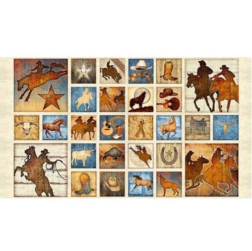 Mustang Sunset Decorated Horse Small Patch 24x44 Cotton Fabric Panel