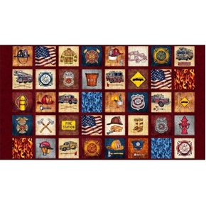 Picture of 5 Alarm Everything Firefighter Patches Brick 24x44 Cotton Fabric Panel