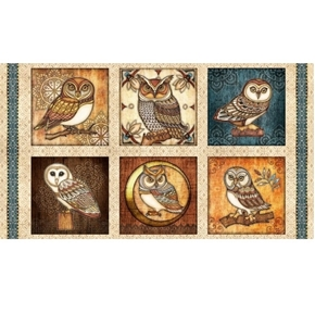 Picture of Where the Wise Things Are Owl Picture Patch Cream 24x44 Fabric Panel