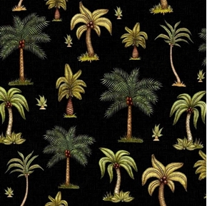 Picture of Caravan Palm Trees Tropical Tree on Black Cotton Fabric