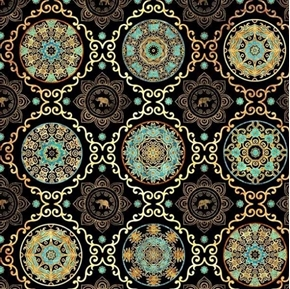 Caravan Scroll and Medallion Elephant Aqua Black Gold Cotton Fabric