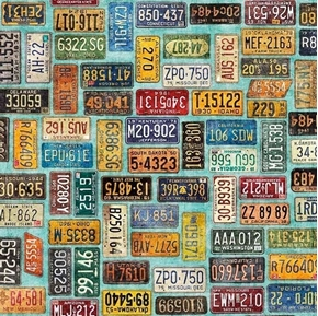 Motorin License Plates Traveling United States Aqua Cotton Fabric