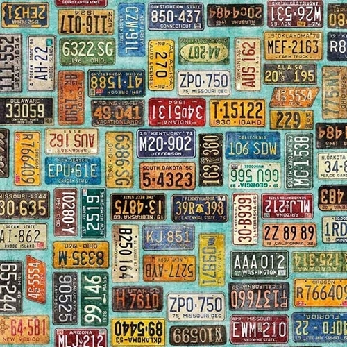 Picture of Motorin' License Plates Traveling United States Aqua Cotton Fabric