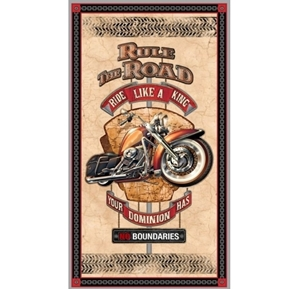 Picture of Rule The Road Motorcycle Ride Like A King 24x44 Cotton Fabric Panel