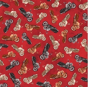 Picture of Rule The Road Motorcycle Toss Bikes Red Cotton Fabric