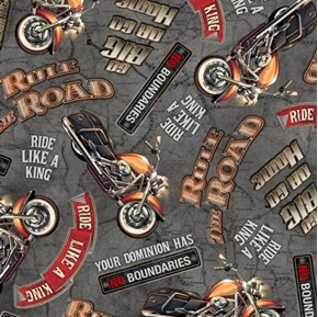Rule The Road Biker Lingo Motorcycle Mottos Grey Cotton Fabric