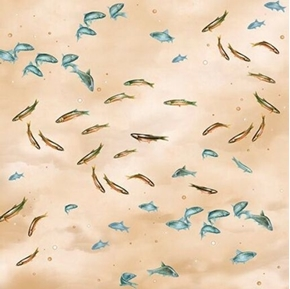 Picture of So Many Fish, So Little Time Small Fish Swimming Cream Cotton Fabric