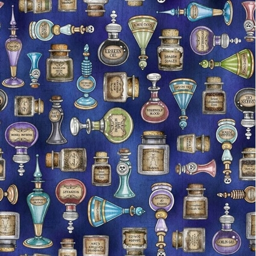 Picture of Spellbound Potions Wizard Magic Bottles Spells Blue Cotton Fabric